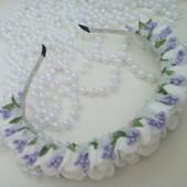 ободок веночек в бело сиреневом цвете.