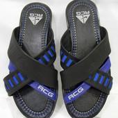 Распродажа !!! Nike model ( TN - 1 ) черно-синие !!! Кожаные мужские шлёпанцы !!!