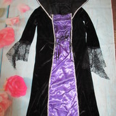 Карнавальное платье велюровое женское 8-10р  ведьмочка колдунья на Хеллоуин