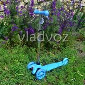 Детский самокат mini micro регулируется ручка колёса светятся itrike голубой