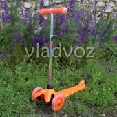Детский самокат mini micro регулируется ручка колёса светятся itrike оранжевый