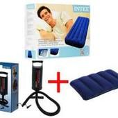 Intex 68950 Надувной матрас +  подушка + насос