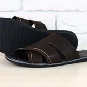 Мужские кожаные тапочки коричневого цвета