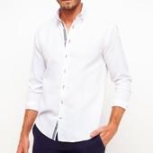 белая мужская рубашка De Facto с белыми пуговицами