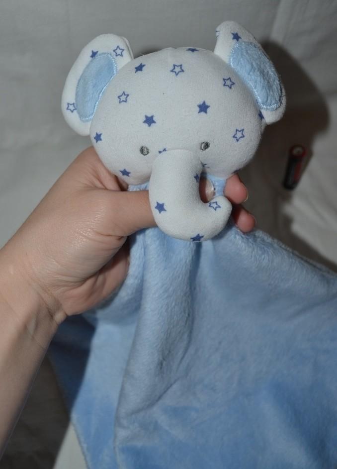 Нежный слоник слон впитывающий платочек полотеничко с развивалками кукольный театр в звездочки фото №1
