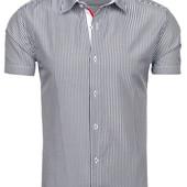 Стильная стрейчевая рубашка в полоску с коротким рукавом