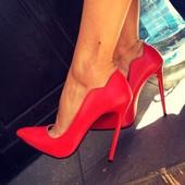 Стильные красные туфли лодочки, лак и замша, 12см. Турция