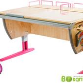Комплект Дэми - парта + стул+2 задних полки и 1 боковая,  клен розовый с рисунком цветы (Д-20031054)