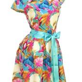 Летние платья с атласным поясом  в расцветках