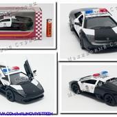 Металлическая инерционная машинка Kinsmart Полиция, масштаб 1:40, Lamborghini murcielago LP640