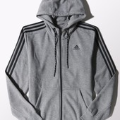 Джемпер Adidas sport essentials 3-stripes fleece hoodie dark grey оригинал