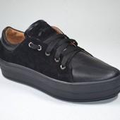 женские кожаные кеды  Модель: 15-314 Черная кожа/черный замш