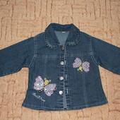 джинсовая курточка пиджак девочке 3-4 года, идеал.сост