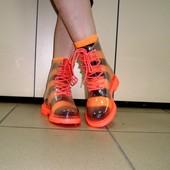 Ботинки резиновые силикон прозрачные расцветки Т817