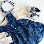 Новый комплект Mini Club боди + джинсовый сарафан на девочку 1-1.5года