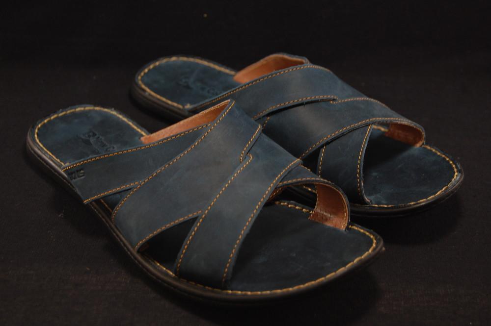 Шлепанцы из натуральной кожи,синие фото №1