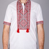 Недорого мужская вышиванка короткий рукав хлопок (красный и синий орнамент)