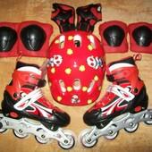 Детские раздвижные ролики 31-34, 35-38, 39-42! Шлем и защита!