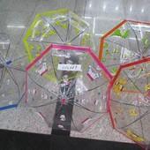 Зонт детский в ассортименте, артикул C12689  5 видов, прозрачная клеенка, купольная форма, со свистк