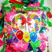Надувные шарики 100 шт в уп, микс цветов