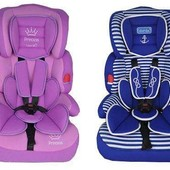 Автокресло детское, 2 вида: фиолет,синее, группа 1-2-3, M2706