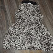 Платье шифон леопардовое очень стильное размер 16