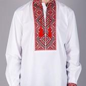Мужская вышиванка хлопок длинный рукав красная и синяя (чоловіча вишиванка)