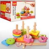 Деревянная пирамидка ключик рыбалка 2в1 - логическая игрушка геометрика