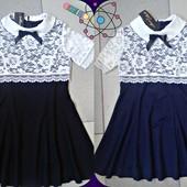 Платье для девочки. Школьная Форма, рост 116-140.Ткань французский трикотаж +дорогой гипюр