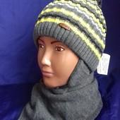 Детский комплект для мальчика (шапка и шарф), подкладка - флис, Grans (Польша)