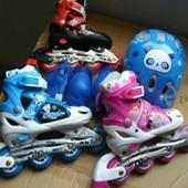 Раздвижные ролики набор со шлемом и защитой, pu колеса, со светящимся колесами