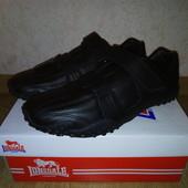 Кожаные мужские кроссовки Lonsdale Англия (чёрные)