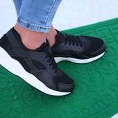 Черные кроссовки, реплика Nike Huarache из эко-кожи + сетка, мягкие, подойдут для тренировок.