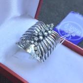Новое серебряное кольцо куб.цирконий чернение Серебро 925 пробы