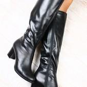 Сапоги кожаные черные на устойчивом, небольшом каблуке