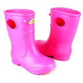 Детские дождевые сапоги из пены (ЭВА) для девочки ( р. 20-27)