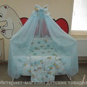 """3 цвета!9 в 1 - комплект постельного белья в детскую кроватку """"Мишки-клетки"""""""