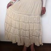 Батистовая длинная юбка с кружевом