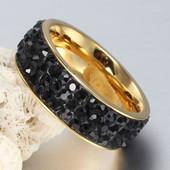 Позолоченное кольцо с кристаллами код 143