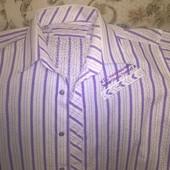 Стильная мужская рубашка  c коротким рукавом (р.50)-100%. cotton.