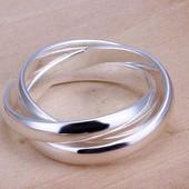 Тройное кольцо, покрытое серебром