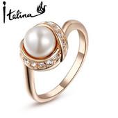 Кольцо позолоченное с кристаллами и жемчугом код 997