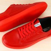 Кеды мужские красные кожаные на шнурках