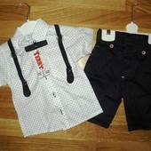 Костюм нарядный на 5-6 лет! Рубашка+бабочка+шорты+подтяжки! Турция!