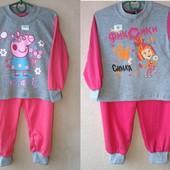 детская пижама фиксики свинка Пеппа тонкая трикотажная для девочки