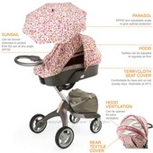 шикарный летний комплект Stokke с зонтиком, розовые пиксели