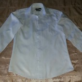 Рубашка приталенная белая атласной ниткой р.S (164)