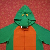 Флисовый человечек-пижама-костюм Дракон, Крокодил, Динозавр размер S, б/у.