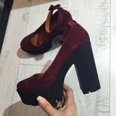Класснючие туфли на толстом каблуке натуральная замша, цвет Марсала, изумруд, черные