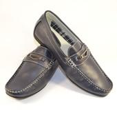Туфли мокасины темно-синие Т12